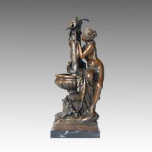 Classical Figure Statue Lady Water Bronze Sculpture, M. Mathurin TPE-234
