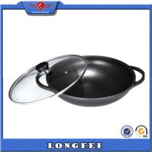 Couvercle en verre Deux poignées Die Cast Aluminium Chinese Mini Wok