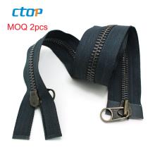 wholesale fancy custom auto lock long chain metal two sided zipper double sided zipper for jackets