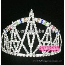 "Requintado 3 ""alto arco-íris castelo design cristal tiara"