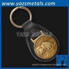 Casting buffalo leather keychains