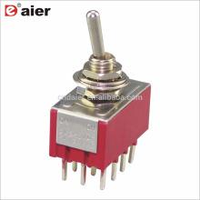 MTS-4 6MM 4PDT Enganche Interruptor de palanca en miniatura ON OFF ON 12Pin