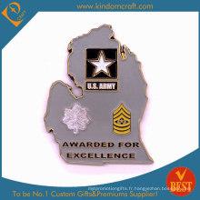 Pièces de monnaie en métal personnalisées de récompenses de l'armée 2D de l'honneur personnalisé (LN-076)