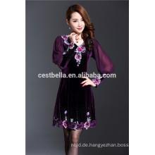 Frühling neue Design elegante Frauen Oversize Kleid gestickten Overcoat Samt