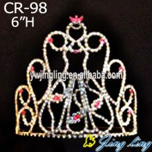 Princesa Red Rhinestone Tiara Bridal Headpiece