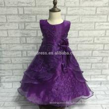 -Линии кружева аппликация Длина пола без рукавов подгонять платье девушки цветка для свадьбы носить FGZ05 замороженные платья для девочек