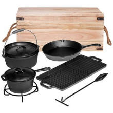 Seasoned Cast Iron Camping Cookware Set with Box