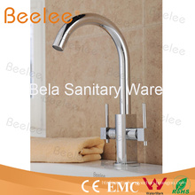Durable Brass Filtration 3 Way Kitchen Tap with Double Lever Handle Swivel Spout