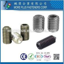Hecho en Taiwán Acero inoxidable / tornillo de ajuste ranurado de cobre con el punto de la taza DIN916