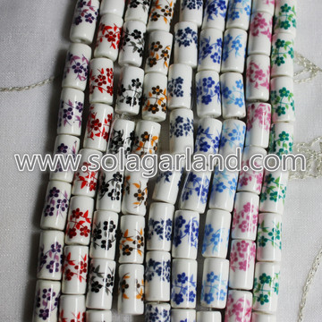 Flower Design Zylinder Keramik Porzellan Spacer Bead Charms