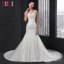 Q-009 Nouveaux V-Cou perles de perles sirène robe de mariée 2016