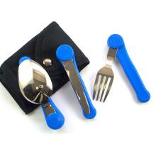 3 PC de plegamiento cubertería, Camping cubertería (kinf, tenedor, cuchara)
