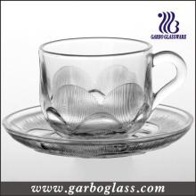 Ensemble de tasses à thé et de soucoupes en verre en feuille gaufré (TZ-GB09D2407SQ)