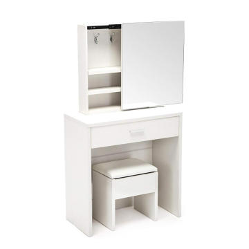 Vanity Table Set Sliding Mirror Drawers Wood Makeup mirrored dressing table(White)