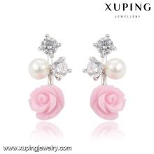 92025 Xuping Fashion Fleur Rhodium CZ Diamant Imitation Bijoux Boucle D'Oreille En Verre avec Perle