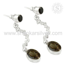 Shiny hanging design silver earring jewelry 925 sterling lemon smoky quartz gemstone wholesale jewellery
