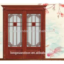Mian puerta de entrada de madera puerta de entrada doble puerta de madera con diseño de vidrio
