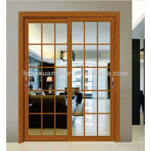 Porte coulissante en aluminium, porte en fibre de verre avec design de gril contemporain
