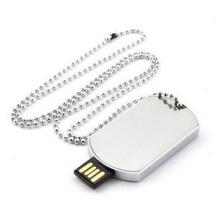 Metal dog tag Usb Flash Drive with keychain