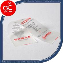 Marque de prix bon marché étiquette imprimée TPU personnalisée / étiquette d'impression