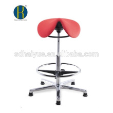 ergonomic design red barber saddle stool with footring