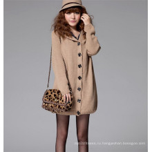 Мода зимняя куртка девушки с длинным рукавом вязать меха с капюшоном пальто свитер
