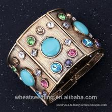 Vintage Retro Alloy Wide Broad Bangle Avec Bracelet Turquoise Et Cristal Pour Femmes