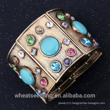 Vintage Retro Alloy Wide Broad Bangle With Turquoise and Crystal Bracelet For Women
