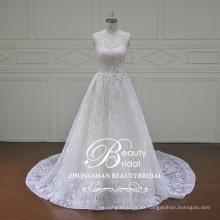 2017 Vestido de boda sin tirantes del alibaba del vestido de boda del cordón del vestido nupcial de marfil magnífico de la última del diseño