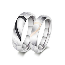 Heart-shaped couple rings, commitment titanium steel wedding ring