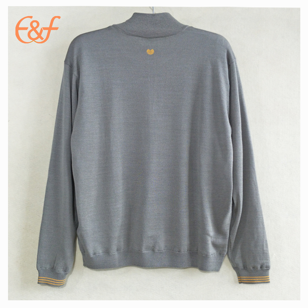 Winter Casual Thick Half Zipper Turtleneck Male Sweater back look
