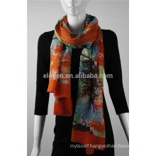 In Stock Polyester Tree Pattern Printed Scarf