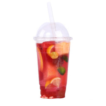 12oz 16oz transparent clear disposable plastic PET PLA PP cup with dome and flat lid
