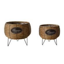 Cheap price plastic rattan woven flower basket indoor garden stand plant basket flower pot basket for plants