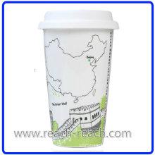 Ceramic Coffee City Mug with Cover (R-3017)