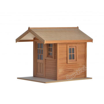 Small size room box dollhouse in barewood