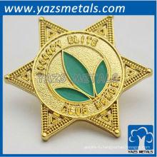 выполненный на заказ металл плакировкой золота 24k шестигранник плашка для членов клуба