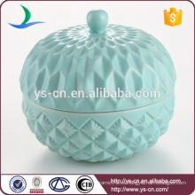 Embalaje de cerámica de cerámica en relieve azul fabricante al por mayor