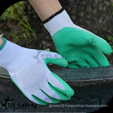 SRSAFETY 10 gauge green polycotton liner coated white latex on palm/working glove/safety safety helmet inner liner glove