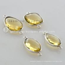 Натуральный Драгоценный Камень Безель Ссылка Лимонный Кварц Серебро 925 Безель Драгоценный Камень Разъем