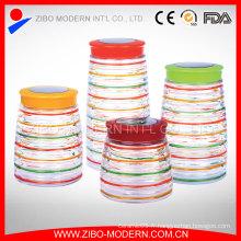 Ensemble de récipients pour aliments en verre coloré 4 Pot à gâteau personnalisé