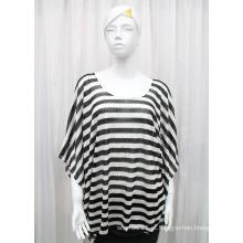 Senhora Moda Stripe Impresso Poliéster Malha Primavera Hollow Shirt (YKY2202)