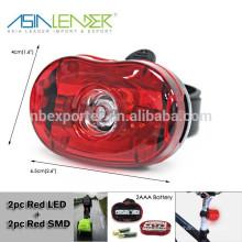 Powered By 2 * AAA Batería Flash-Iluminación de luz trasera de bicicleta