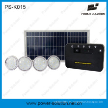 8W de sistema de energía solar Grid con bombillas 4PCS LED