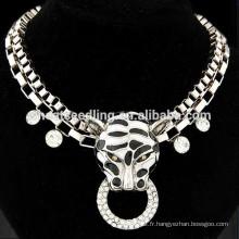 Fashion exagéré punk léopard collier de diamants collier court