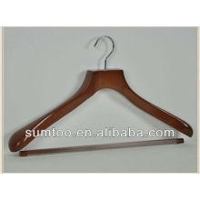 Cintre en bois fiable de qualité de crochet de crochet de chrome non fiable pour des vêtements
