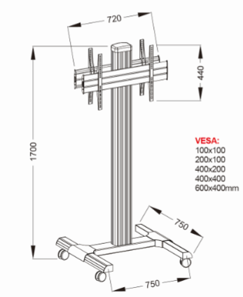 AVR15SP dual TV stand size drawing