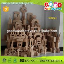 508pcs Big Size Nature Color Wooden Kindergarten Block