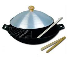 LFGB-qualifizierter Gusseisen-Wok mit 30 cm