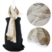 Шелковый шарф с цветочным вышивкой Gradient Ramp для женщин с блестками